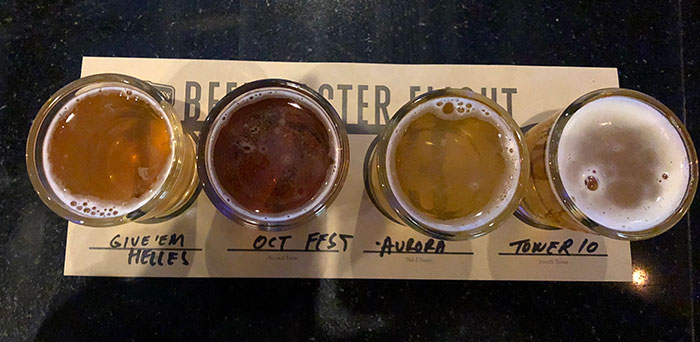 A flight of Beer at Karl Strauss San Diego Carlie Mesquitta