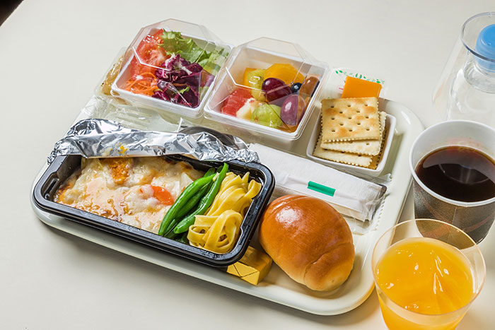 Aeroplane food with plastic