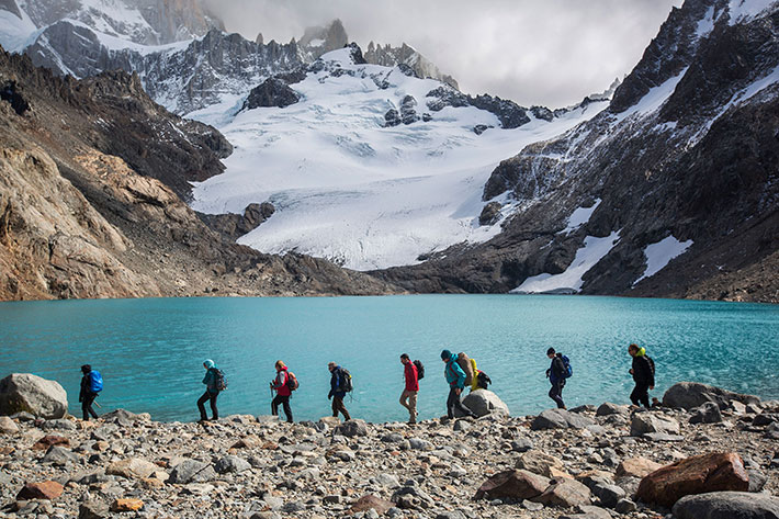 People hiking in Patagonia, Argentina