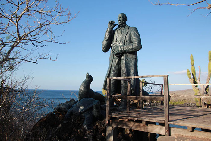 Charles Darwin statue, Galapagos Islands, Jessica French
