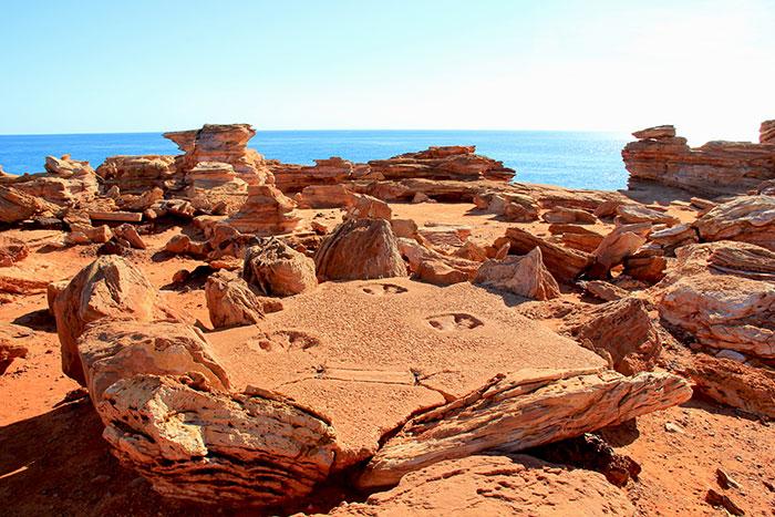 Dinosaur footprints Broome