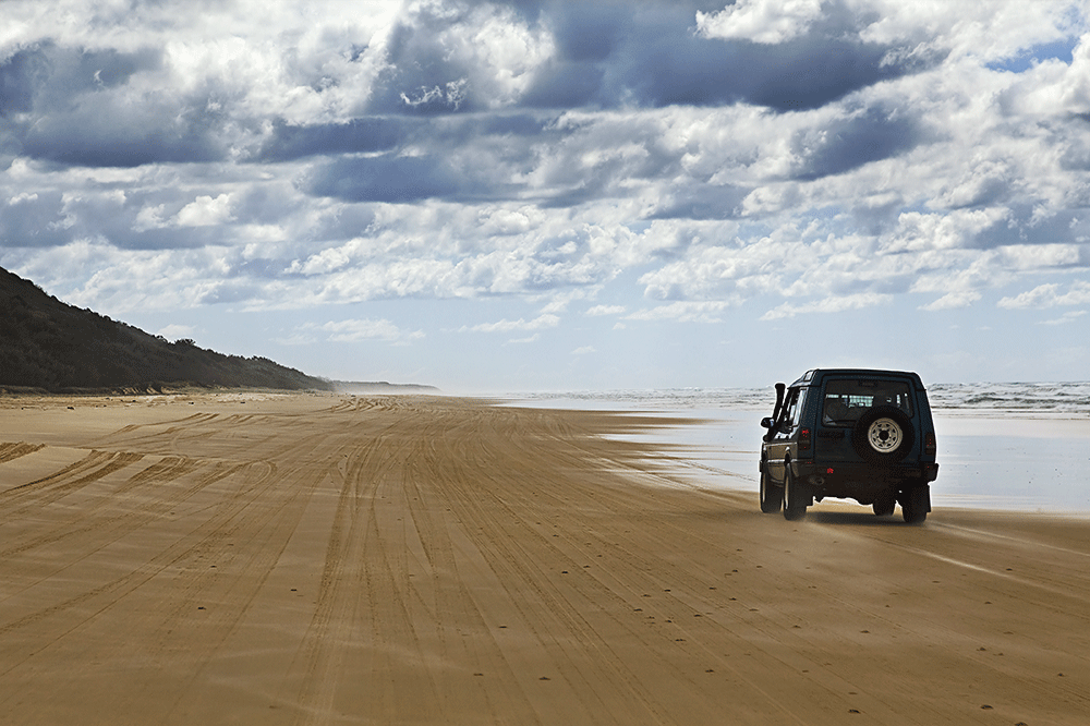Driving 4x4 Fraser Island Queensland