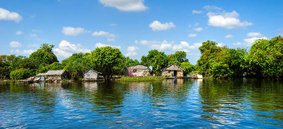 Floating houseboat on Tonle Sap Lake