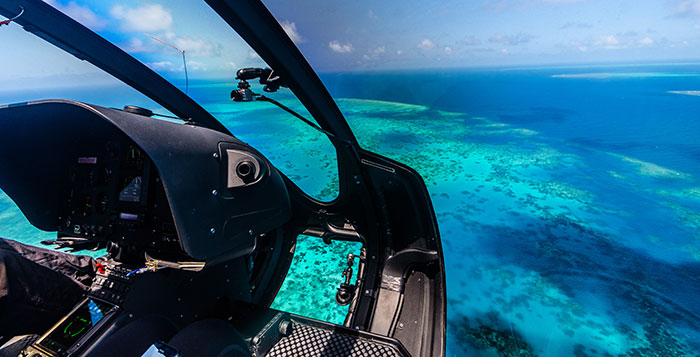 Helicopter over Great Barrier Reef