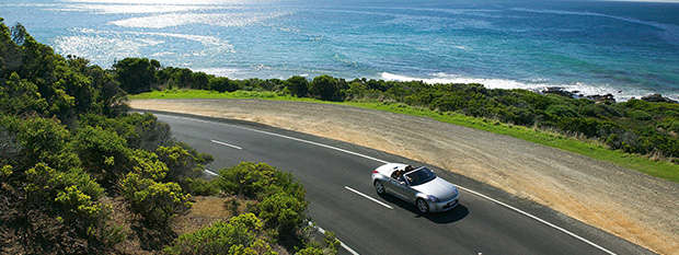 Car driving along the Great Ocean Road