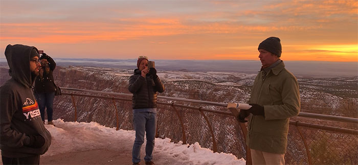 Joel entertains the group with poetry at the Grand Canyon, Phil Murray