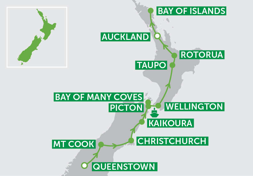 Landscapes of New Zealand Journey Itinerary map