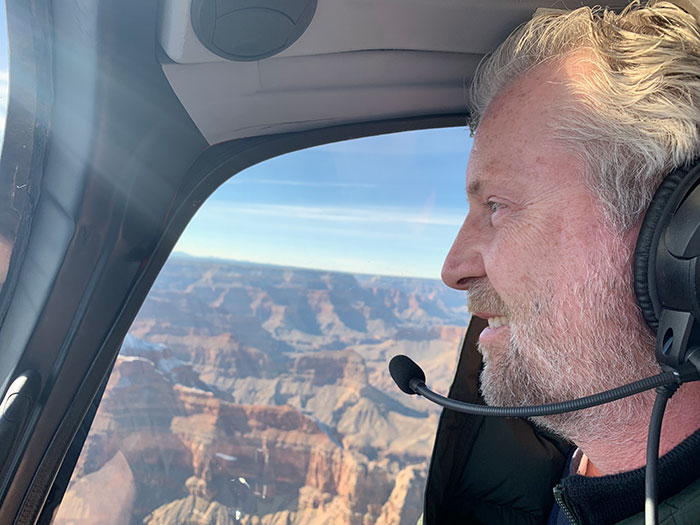 Phil on helicopter flight over the Grand Canyon Phil Murray