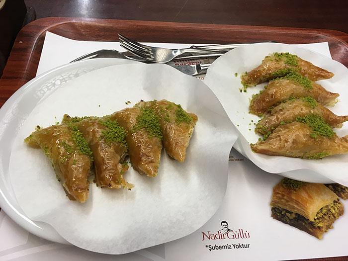 Pistachio baklava in Karakoy Gulluoglu