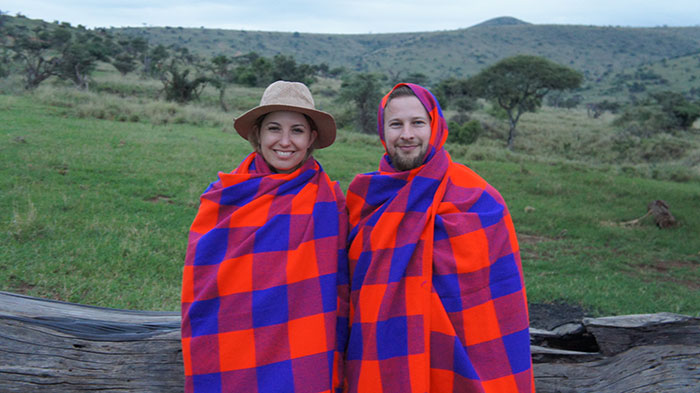 Couple on Safari Honeymoon