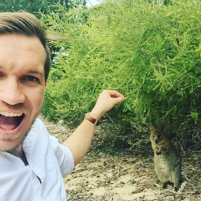 Adam with a quokka, Western Australia