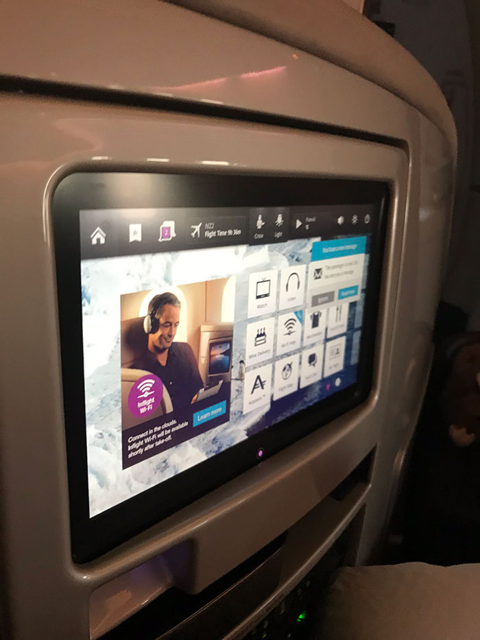 Air New Zealand Business Premier entertainment screen
