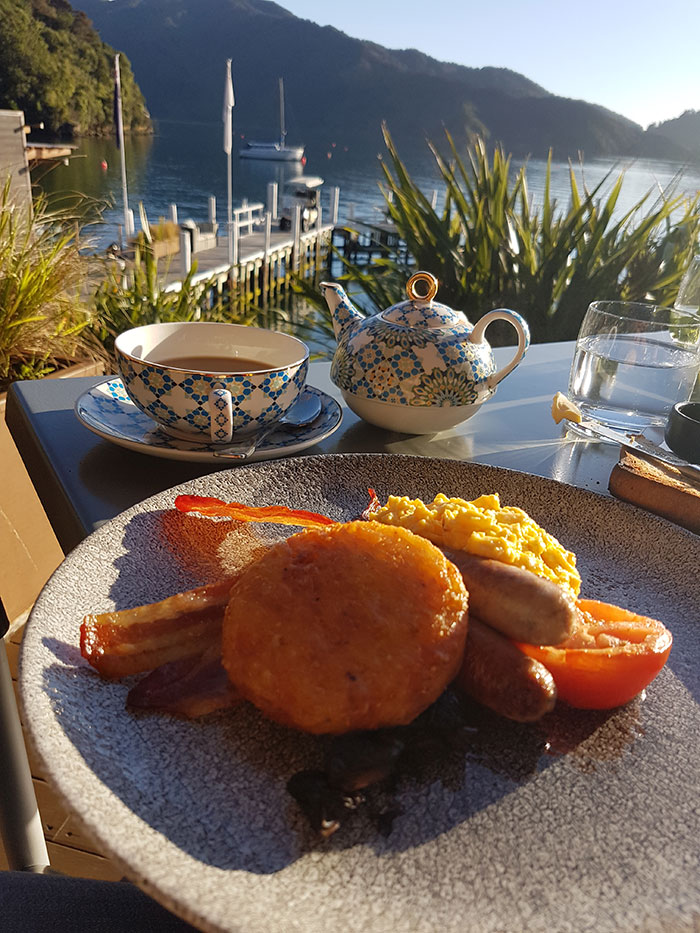 Breakfast, Bay of Many Coves, New Zealand