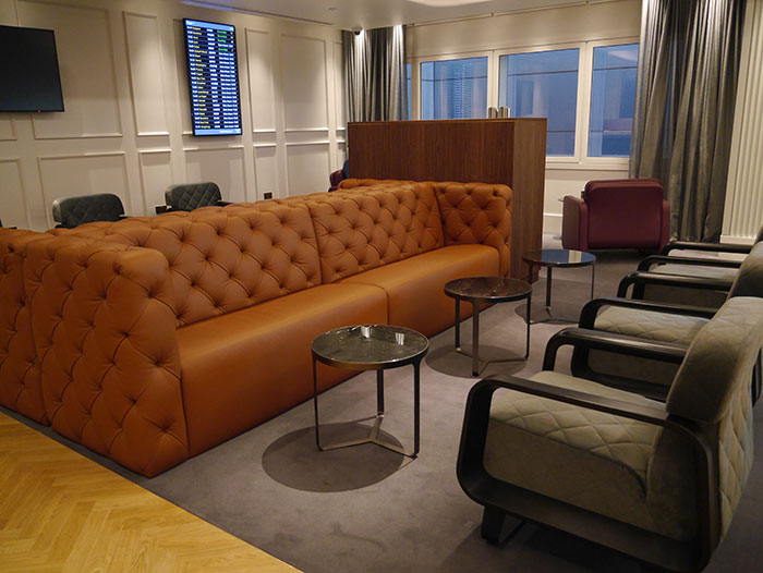 Casual seating in Qantas lounge, London Heathrow