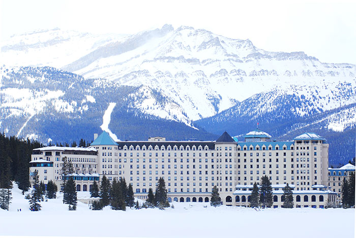 Chateau Lake Louise in the snow, Canada