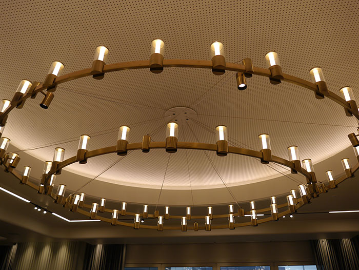 Custom chandelier at the Qantas lounge, London Heathrow