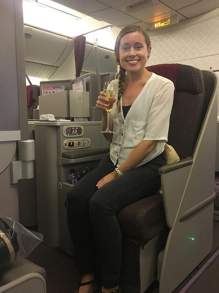 Tess flying Business Class with Garuda Indonesia