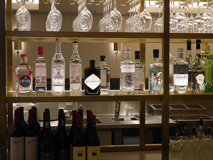 The gin shelf at the Qantas lounge, London Heathrow