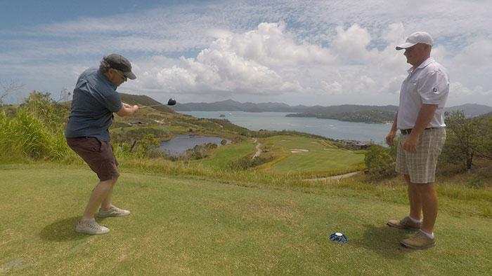 Practising my swing at Hamilton Island Golf Club
