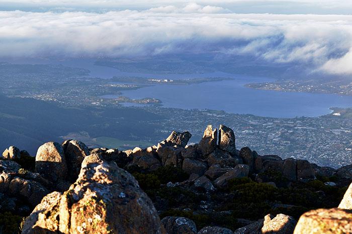 View from Mount Wellington, Hobart, Tasmania (image: Hayley Lewis)