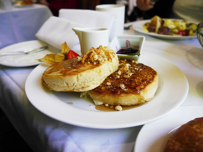 Pancakes served on board the Rocky Mountaineer (image: Alexandra Gregg)