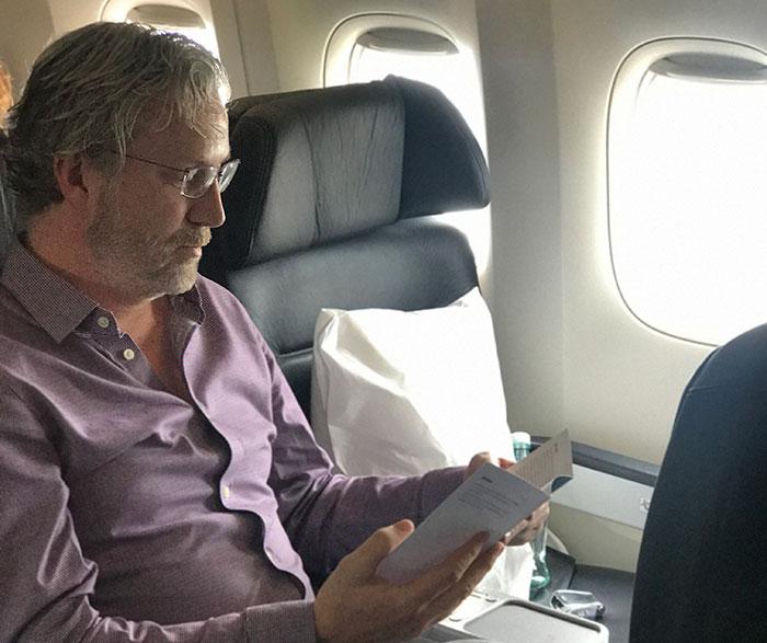 Me in Air New Zealand's Premium Economy cabin