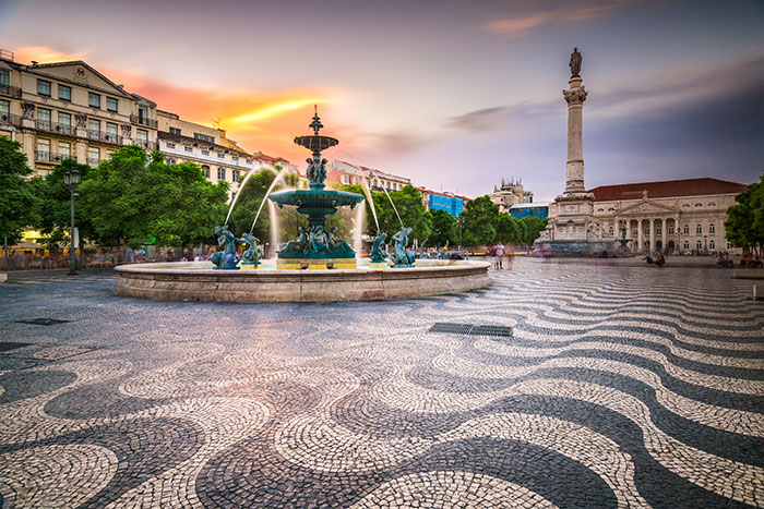 Rossio Square at sunset, Lisbon