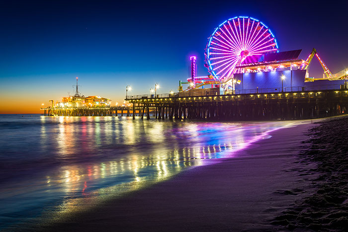 Santa Monica Pier after dark