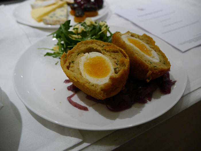 Scotch egg from the a la carte menu in the Qantas lounge, London Heathrow