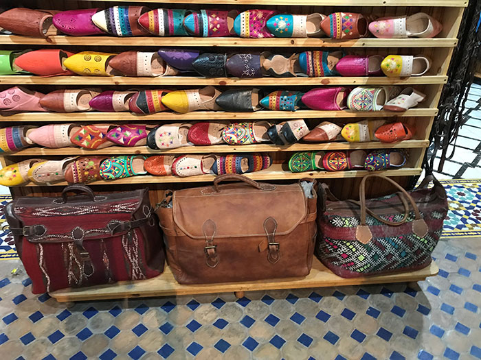 Slippers and bags in Fez