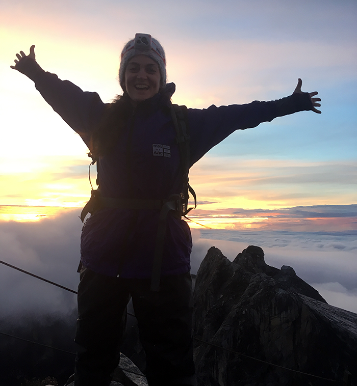 Hazel at the summit of Mount Kinabalu