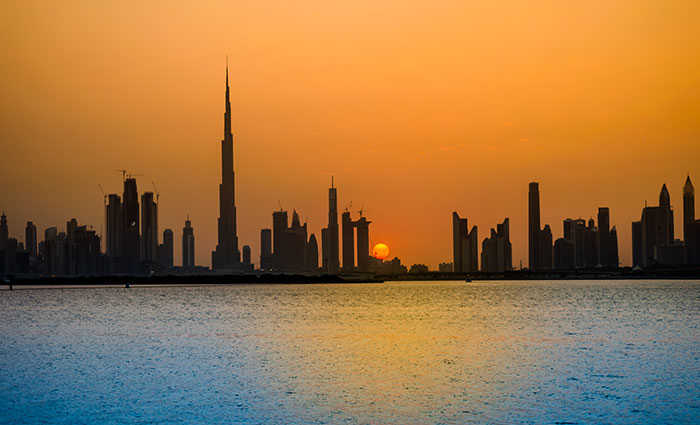 Sunset in Dubai with the Burj Khalifa