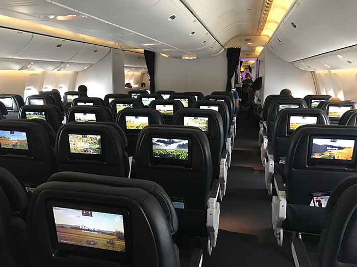 The Air New Zealand Premium Economy cabin has a 2-4-2 configuration