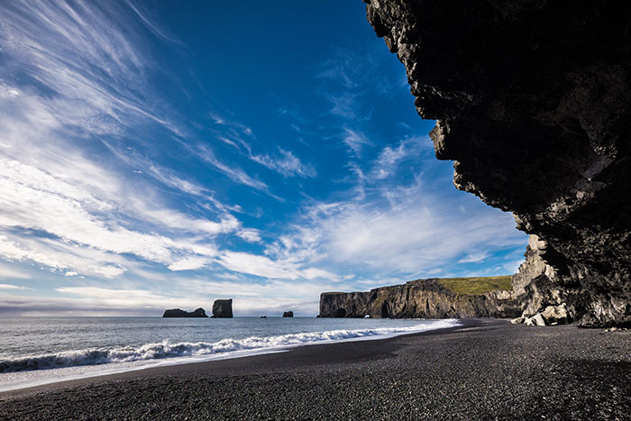 The black-sand beach at Vik, Iceland