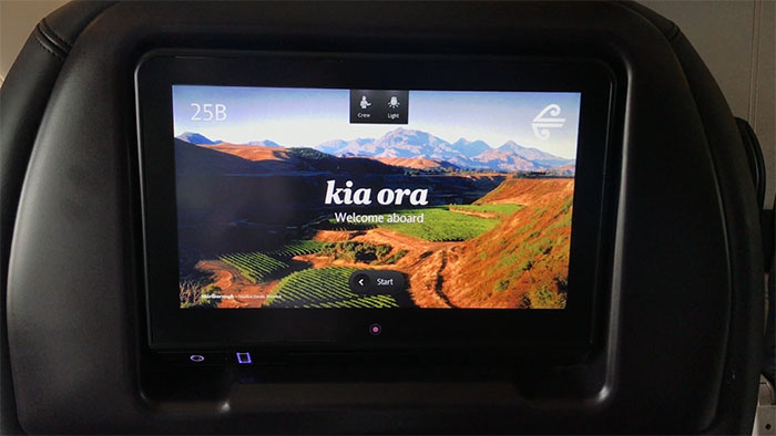 Seat-back welcome screens in Air New Zealand's Premium Economy