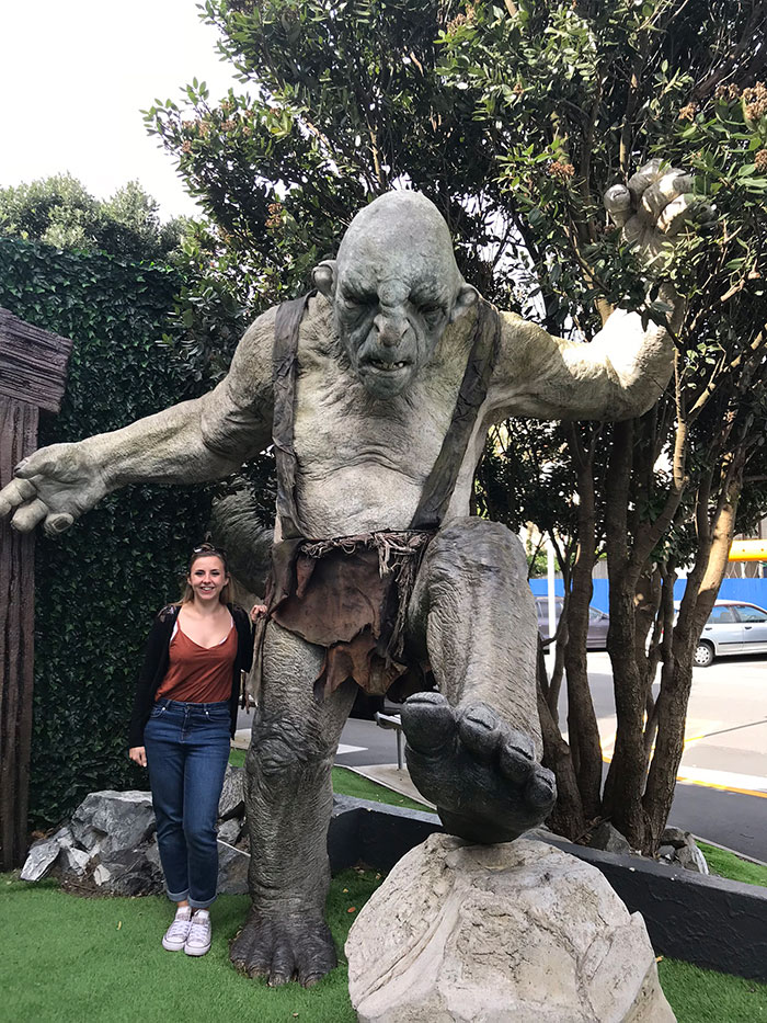 Troll and Alex outside Weta Cave