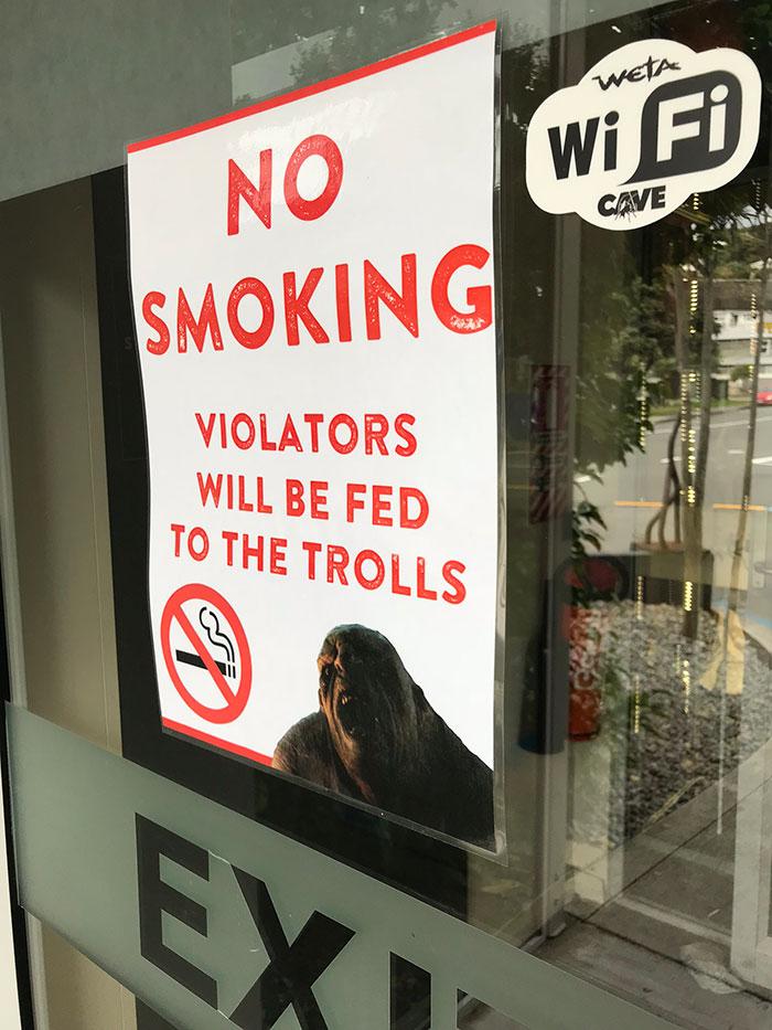 No smoking sign, Weta Cave
