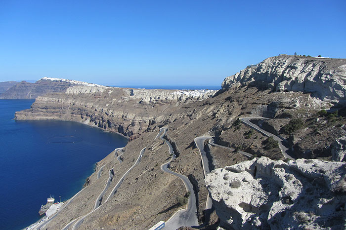 The winding road down to Santorini's port (image: Angela Griffin)