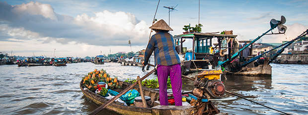 Market boats on the Mekong