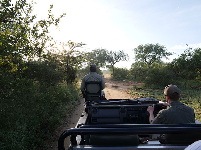 Reece and Matt on safari in Kruger National Park