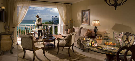 Inside a suite at Sandals Royal Bahamaian in Bahamas