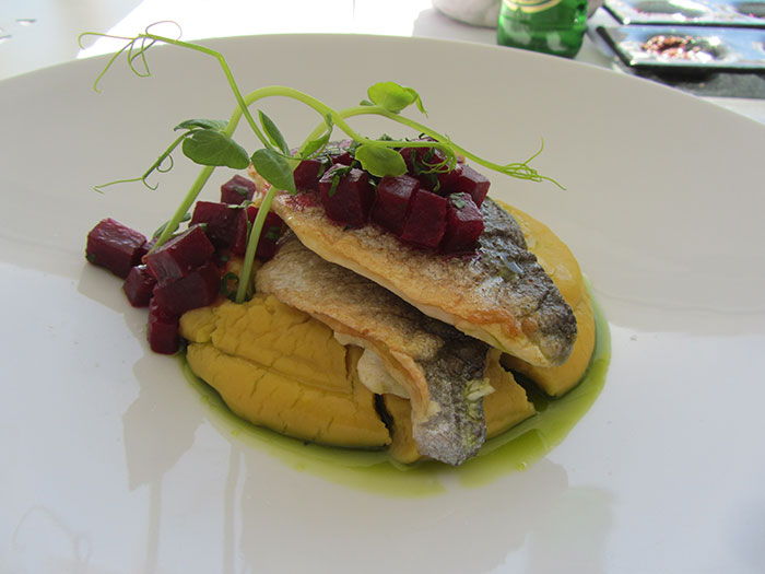 Seabass with fava (image: Angela Griffin)