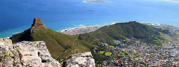 The view over Cape Town from Table Mountain