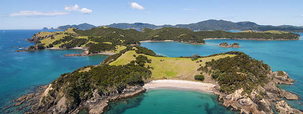 An aerial shot of the Bay of Islands