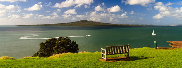 A park bench overlooking Rangitoto Island