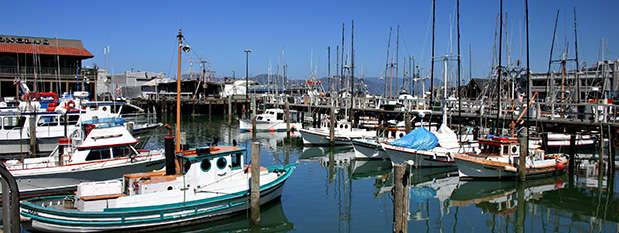 sail boats on Fisherman's Wharf