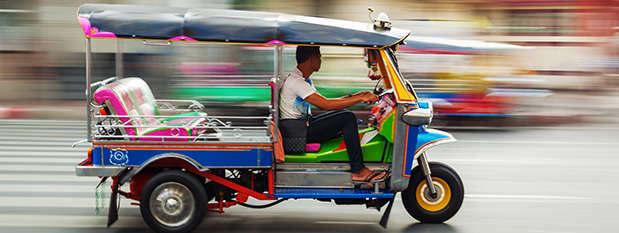 A tuk tuk on the street in Bangkok