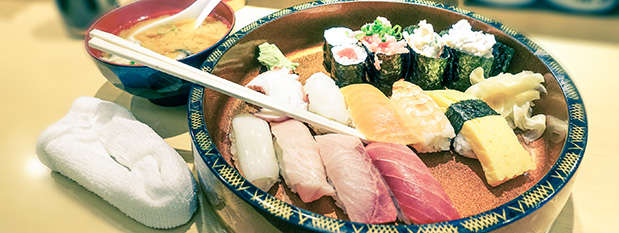 a bowl of sushi in Tokyo, Japan