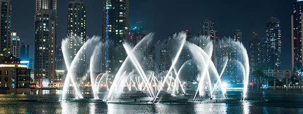 The Dubai Fountains at night