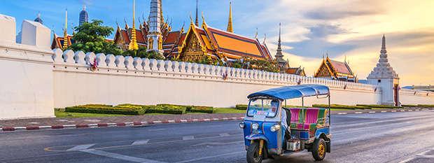 Tuk Tuk infront of Wat Phra Kaeo in Bangkok